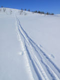 Tracks. In the snow by a skier Royalty Free Stock Photography