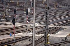 Tracks. Multiple tracks - a railway station Stock Photos