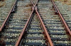 Tracks. Railway tracks split in two directions royalty free stock images
