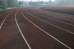 Tracks in athletic field Royalty Free Stock Images