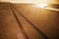 Tracks on the beach. Tire tracks on the empty beach Stock Image