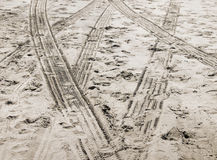 Tracks in Beach Sand Royalty Free Stock Photos