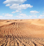 Tracks of cars on the sand. Royalty Free Stock Image