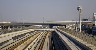 Tracks of an elevated stretch of Dubai metro royalty free stock photo