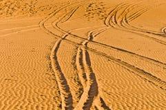 Tracks on Erg Chebbi at Morocco Royalty Free Stock Photos