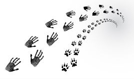 Tracks of the human and animal. Imprints of hands of the human and traces of an animal recedes into the distance Stock Images
