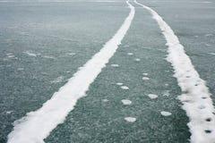 Tracks on Ice Surface Stock Photo