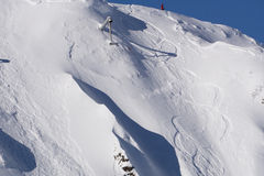 Tracks on a mountain Slope, extreme freeride Royalty Free Stock Photo
