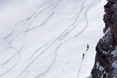 Tracks on a mountain Slope, freeride in deep snow Stock Image