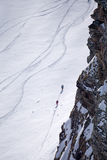 Tracks on a mountain Slope, freeride in deep snow Stock Photos