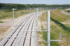 Tracks of a new railway Stock Photo