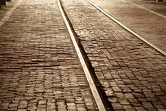 Tracks and old brick. A picture of the old brick and rail road tracks at the stock yards in Fort Worth Texas stock photo