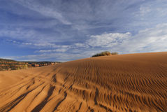 Tracks on the pink sand dune Royalty Free Stock Photography