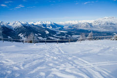 Tracks on piste Royalty Free Stock Images
