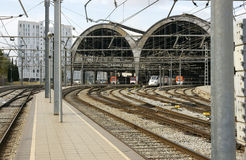 Tracks and platforms at the station Stock Image