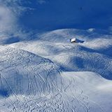 Tracks in powder snow Royalty Free Stock Image