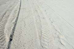 Tracks and Prints in the Sand Stock Image
