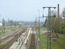 Tracks. Railway tracks in upper bavaria facing the alps Royalty Free Stock Photography