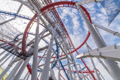 Tracks of Roller coaster against blue sky, Perspective Concept.  Royalty Free Stock Photo
