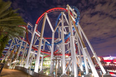 Tracks of Roller coaster during twilight, Perspective Concept.  Royalty Free Stock Image