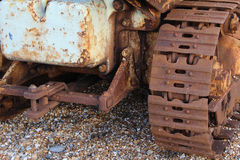 Tracks. Rusty pebbles beach vehicle construction Stock Images