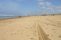 Tracks in sand. After cleaning Royalty Free Stock Image