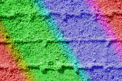 Tracks in sand in rainbow colors Stock Photos