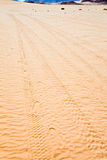 Tracks on sand surface in desert Royalty Free Stock Photos
