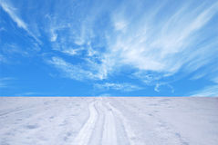 Tracks of ski. On sky background Stock Photography