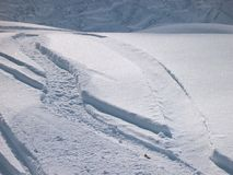 Tracks in snow stock photo