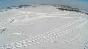 Tracks in snow stock footage