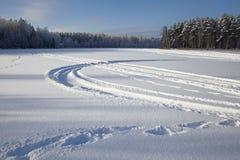 Tracks on snow Stock Photo