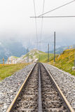 Tracks of swiss cogwheel train Stock Photo