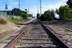 Tracks to somewhere. Railroad tracks leading to places unknown Royalty Free Stock Photos