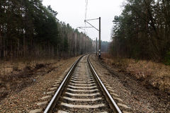 Tracks turn right. Railway track in the forest. Way into forest. Royalty Free Stock Photos