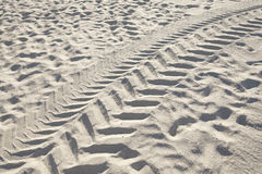 Tracks of a vehicle tires on sand Royalty Free Stock Images