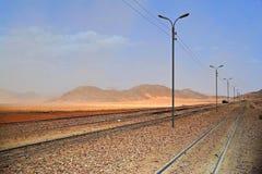 Tracks of Wadi. Ancient Turkish Railroad in Wadi Rum, Jordan royalty free stock photo