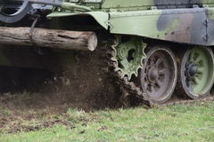 Tracks and wheels of the military tank Royalty Free Stock Image