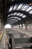Milan, Central Station. 12/22/2016. Tracks 1 and 2 without train stock photos