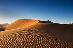 Tracks of wind on an orange sand dune Stock Image