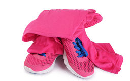 Tracksuit pink color  isolated on white Stock Photo
