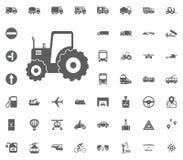 Tracktor-Ikone Gesetzte Ikonen des Transportes und der Logistik Gesetzte Ikonen des Transportes Lizenzfreies Stockbild