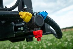 Tracktor sprayer details in the fielld stock image