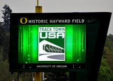 Tracktown USA Jumbo Tron. The Jumbo Tron in Hayward Field at the 2012 Eugene Marathon Royalty Free Stock Photos