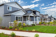 Tract Homes in New Subdivision. In North American suburban residential neighborhood stock images