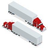 Tracteur américain isométrique de camion d'exposition Transport de grandes charges au-dessus de longues distances Réseau de logis illustration stock