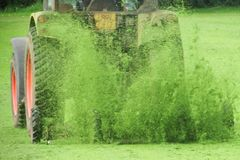 Tracteur avec une herbe de coupe de faucheuse photographie stock