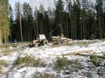 Tracteur chargeant le bois Photos libres de droits
