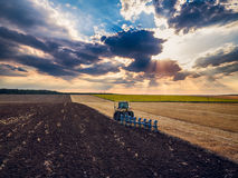 Tracteur cultivant le champ à l'automne Photos stock