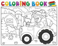 Tracteur de livre de coloriage près du thème 1 de ferme Photo stock